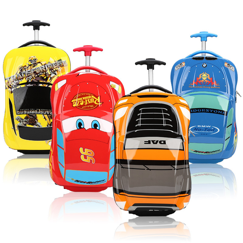 c9d5c1881eaf 2015 ABS spinner wheel kids luggage child travel trolley bag boys and girls  rolling school bags cartoon car journey box suitcase