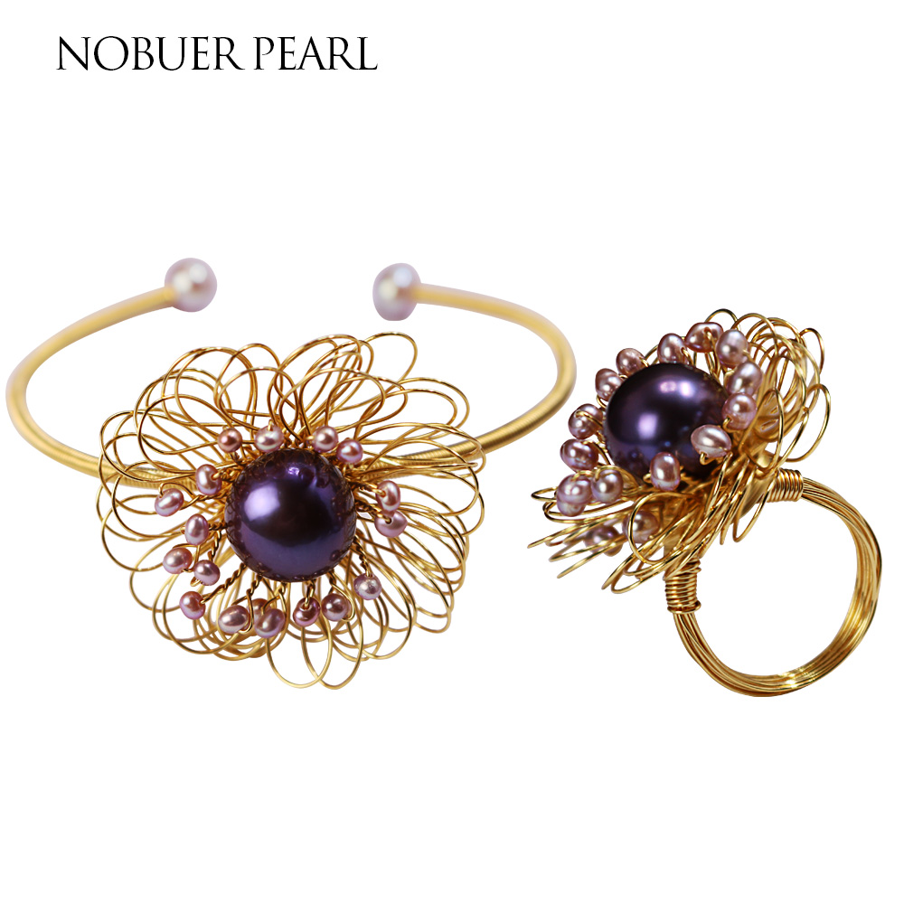 Nobuer 14KGF Handmade Trendy Pearl Jewelry Sets Pearl Ring & Pearl Bracelets For Women New Winding Style Flower Type Jewelry trendy faux pearl flower rhinestone shape cuff ring for women