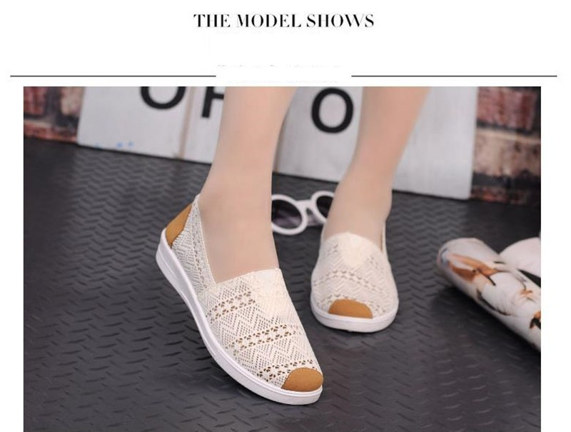 Free Shipping Women Casual Shoes Spring Summer Hollow Lace Flat Shoes Breathable Soft Women Shoes HSE12 (2)