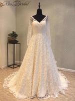 Newest Vintage Lace Wedding Dresses A-line Sheer Long Sleeve Chapel Train Bridal Gowns Button Back vestidos de novia