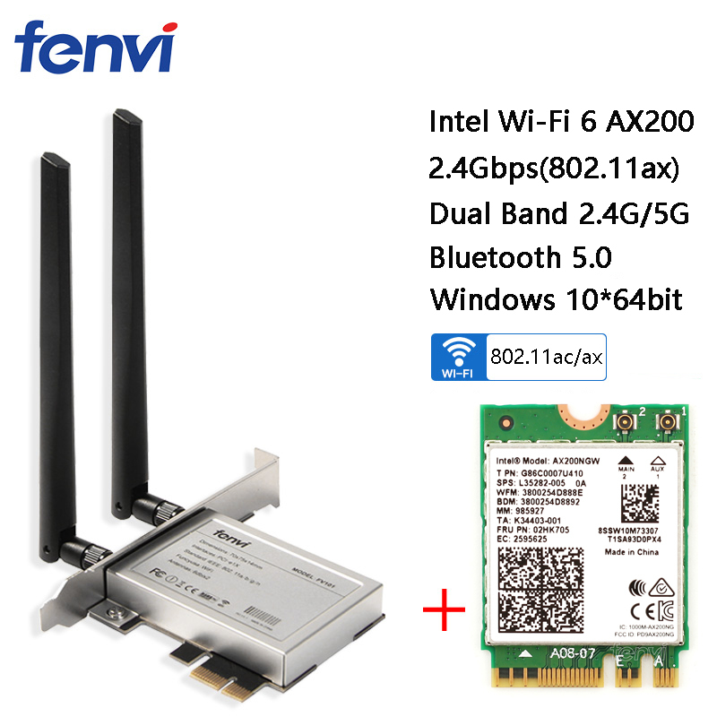 Desktop Wireless Dual Band 2400Mbps Bluetooth 5.0 NGFF M.2 Wifi Adapter For Intel AX200 Wi Fi Card 802.11ac/ax Windows 10-in Network Cards from Computer & Office