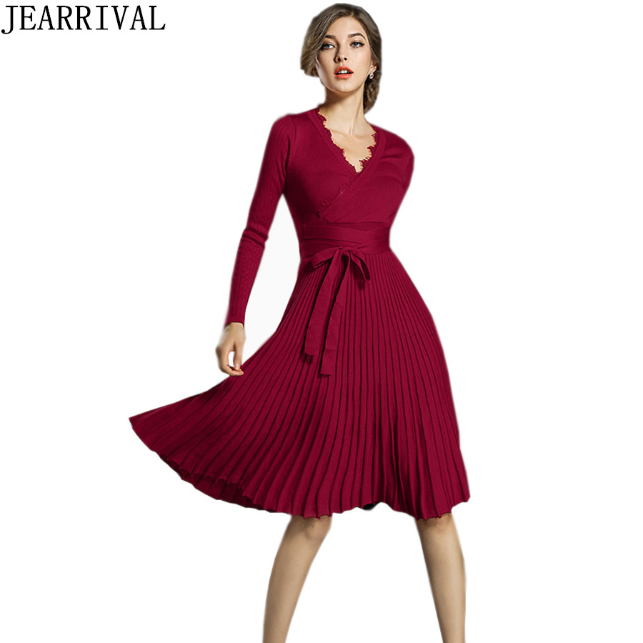 Fashion Winter Dress 2018 New Women Elegant Long Sleeve Sexy Lace V-Neck Pleated Casual Sweater Knitted Dresses Vestido De Festa цена