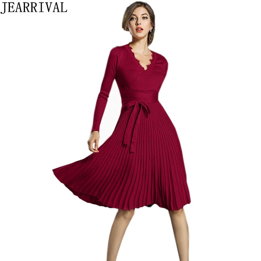 Fashion Winter Dress 2018 New Women Elegant Long Sleeve Sexy Lace V-Neck Pleated Casual Sweater Knitted Dresses Vestido De Festa