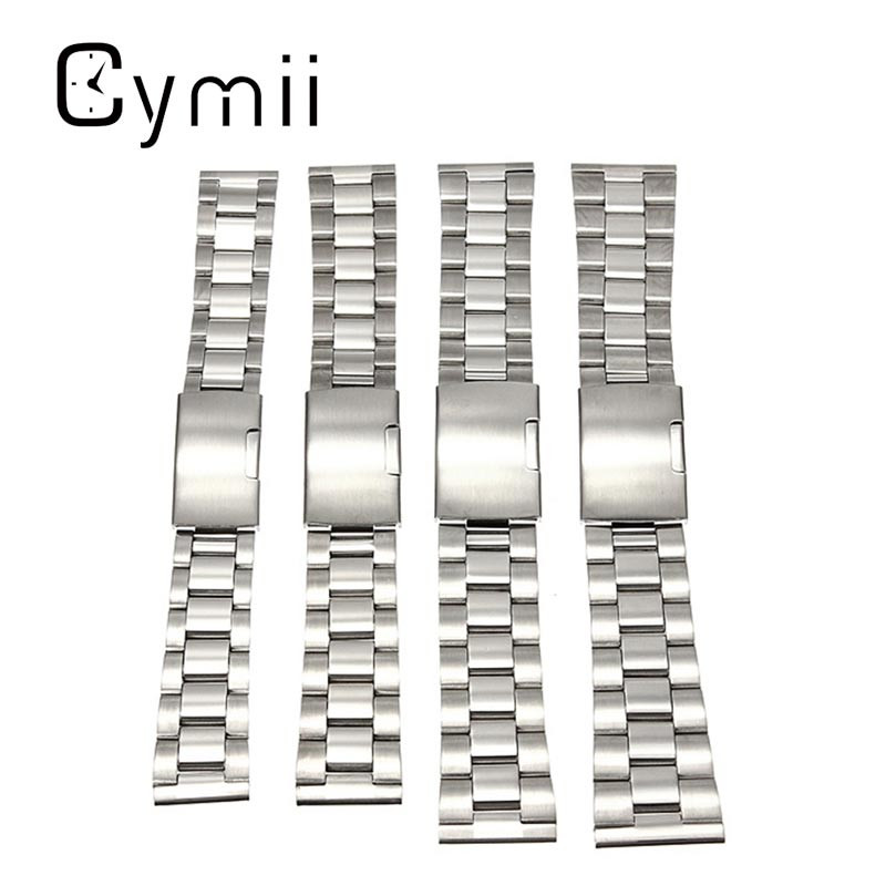 Hot Sale Silver Stainless Steel Watchband 18mm 20mm 22mm 24mm Watch Strap Snaps Straight End New Arrvial Watch Repair Tool Bes stainless steel cuticle removal shovel tool silver