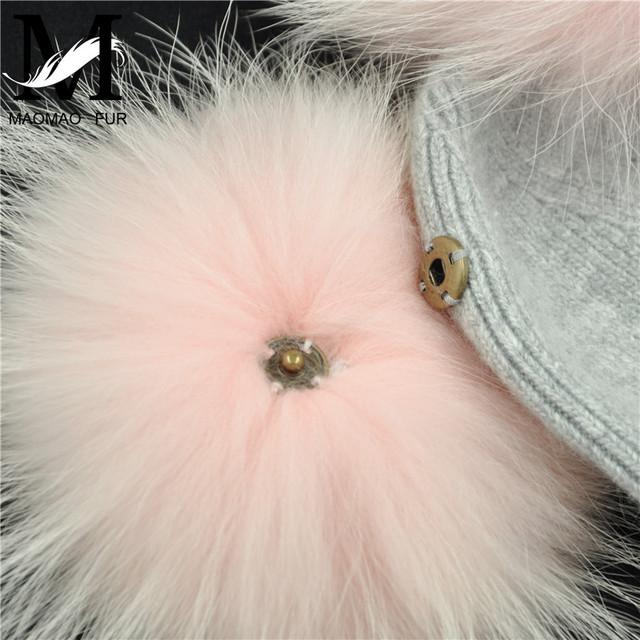 New Winter Warm Knit Hat Women Double Real Fur Pom Pom Hats Natural Fur Ball Beanie Caps Two Fur Pom Poms Bonnets