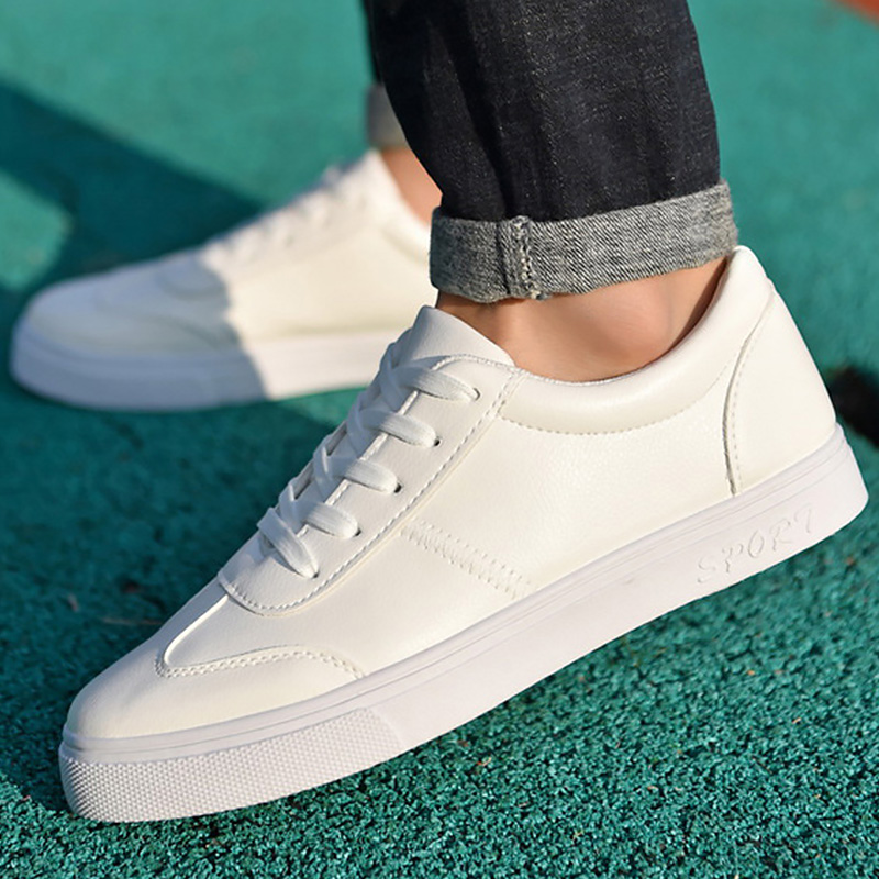 White fashion casual shoes for students solid shollow