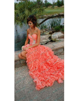 New Hi Lo Coral Tulle Tiered Prom Dresses 2019 Sweetheart Beaded Crystal Party Gowns Lace Up Dress Cloud Robe de Soiree Curto