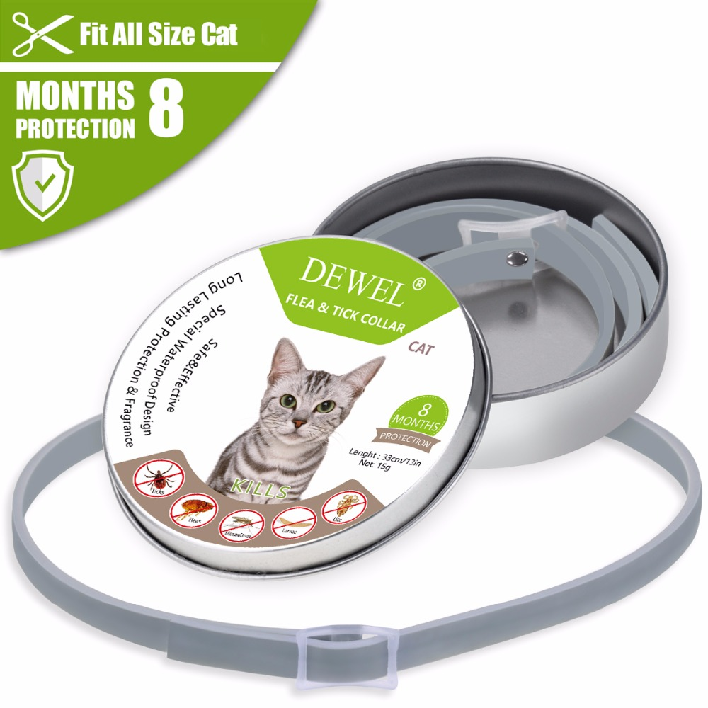 Dewel Cat Dog Collar Anti Flea Ticks Mosquitoes Outdoor Protective Adjustable PET Collar 8 Months Long-term Protection 9