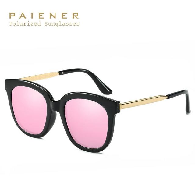 Lujo mujeres polarizadas Gafas de sol moda femenina redonda grande Marcos  marca diseñador ojo de gato fd0eb8903177