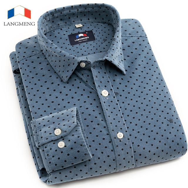 LANGMENG Hombres Pana Camisa casual 100% algodón Nuevo 2016 Primavera Otoño Mens fashion Slim Fit Camisas de Vestir de Alta Calidad