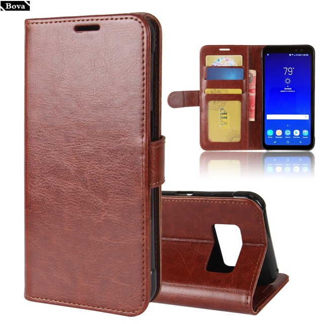good 082c0 96ccd US $4.99 34% OFF|Premium Pu Leather Case for Samsung Galaxy S8 S8+Plus card  holder cover case for Samsung Galaxy S8 Active retro phone case-in Flip ...