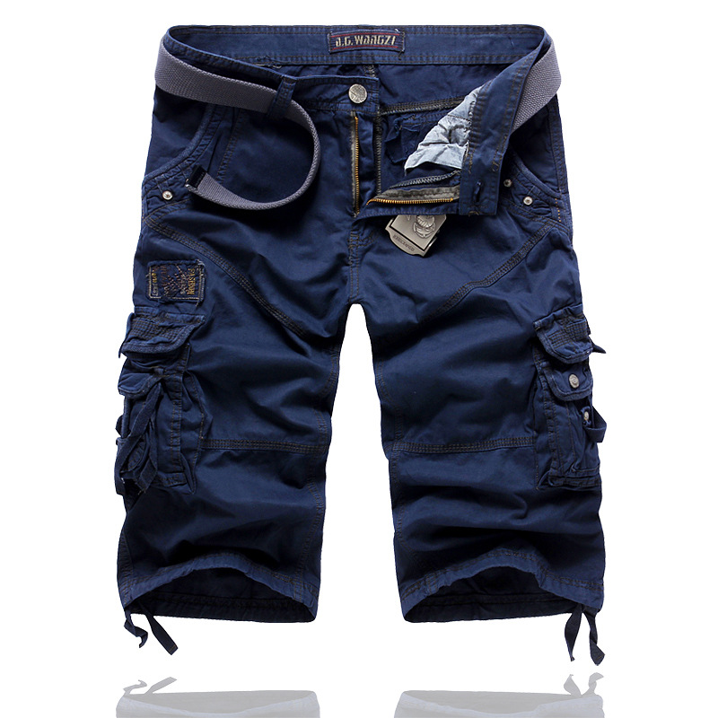 Shorts Men New Brand Summer Solid Color Loose Cargo Shorts Men Camo Summer Short Pants Homme Cargo Shorts NO BELT