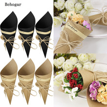Behogar 50PCS Kraft Paper Cones Bouquet Candy Bags Boxes Chirstmas Wedding Party Gifts Packing w/ Hemp Ropes Label Stickers Tape