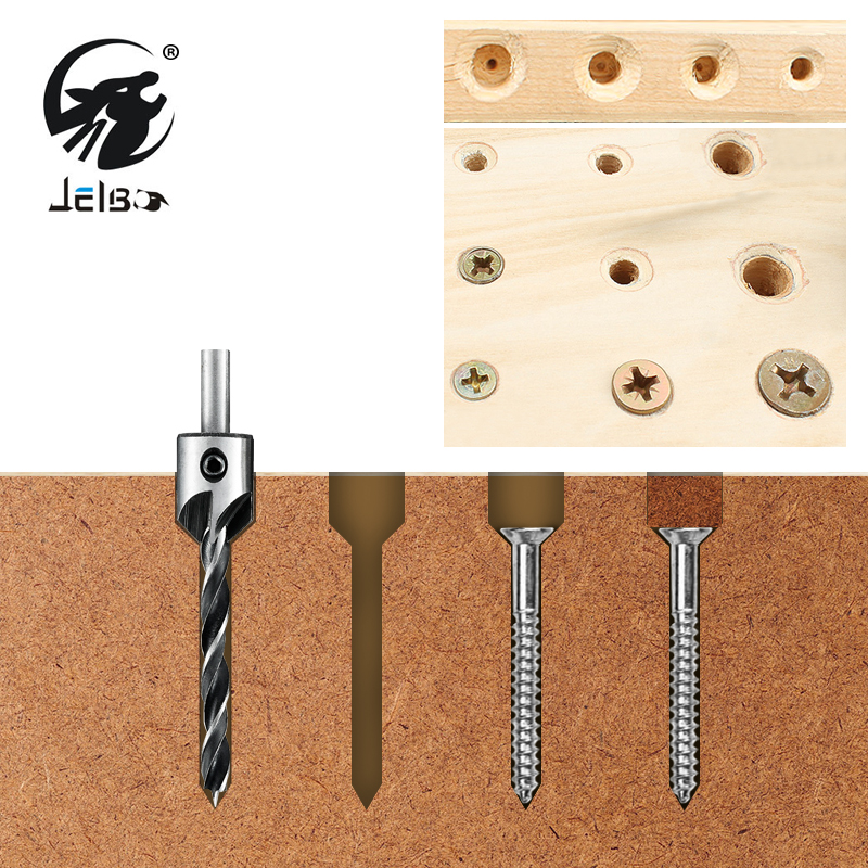 цена на JelBo 4pcs Drills Power Tools 3mm-6mm HSS Countersink Drill Bit Set HSS Countersink Drill Press Woodworking Tools with Wrench