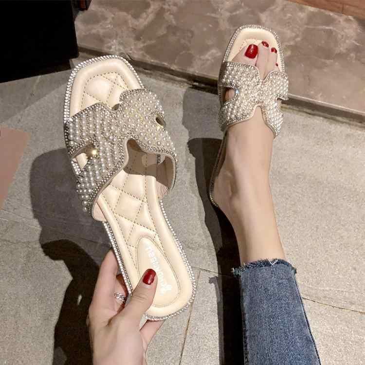 Жемчужный украшение со стразами H шлепанцы на застежке Для женщин открытый носок Слипоны для девочек шлепанцы мягкие резиновые каблуки Женская обувь на плоской подошве
