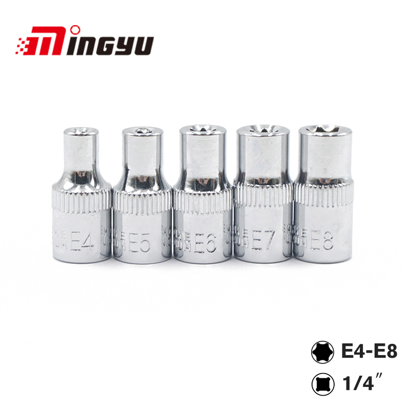 5 PC 1/4 Inch(6.3mm) Torx Star Bit Female E Socket Set E4,E5, E6,E7, E8, E10 Star Socket Set Hand Tools Set mainpoint 1 4 1 2 3 8 e socket sockets set cr v torx star bit combination drive socket nuts set for auto car repair hand tool
