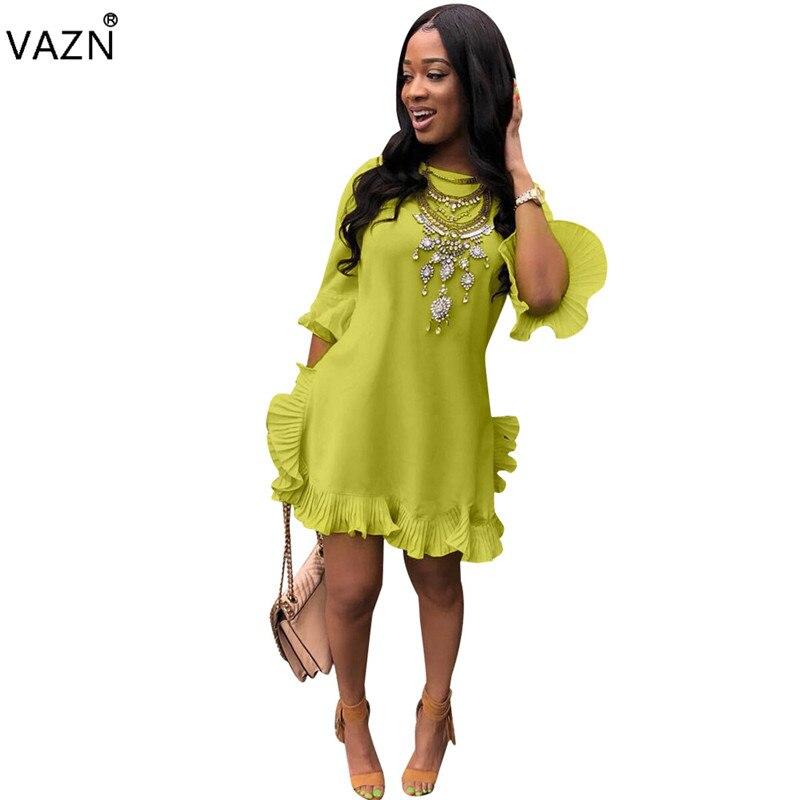 VAZN Autumn Hot Fashionable Popular Sexy 2018 Women Solid Half Sleeve O-Neck Dress Ladies Ruffles Straight Mini Dress FNN8169
