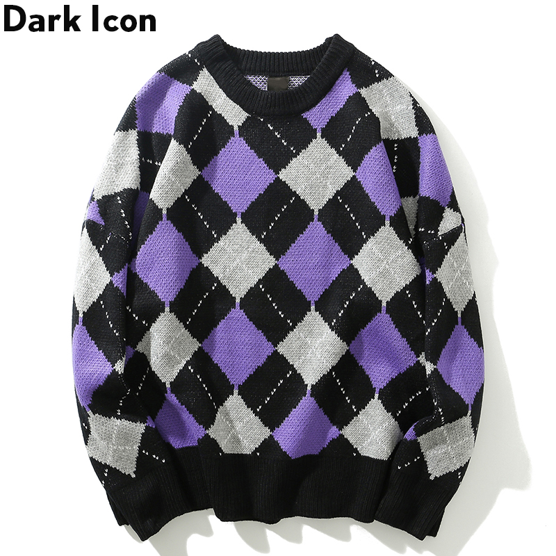 Dark Icon Round Neck Rhombus Sweater Men Loose Style Men's Sweater