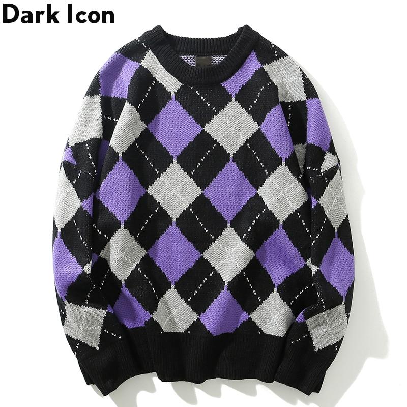 Dark Icon Round Neck Rhombus Sweater Men Loose Style Men's Sweater