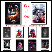 Star Wars White Poster Darth Vader Luke Jedi.New hope.the Force Awakening.Rogue one.The Phantom Menace Wall stickers Frameless(China)