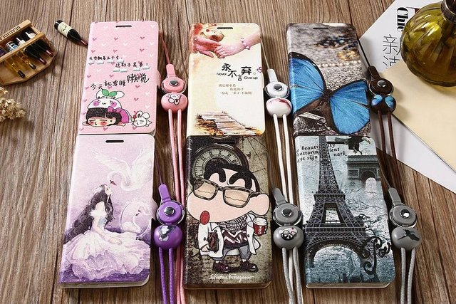 Funny Patterned Cartoon Cute Leather Flip Cover Phone Case For Meizu M3X M3 M5 Note M3E E2 M5s U10 With Magnet and Lanyard MC02
