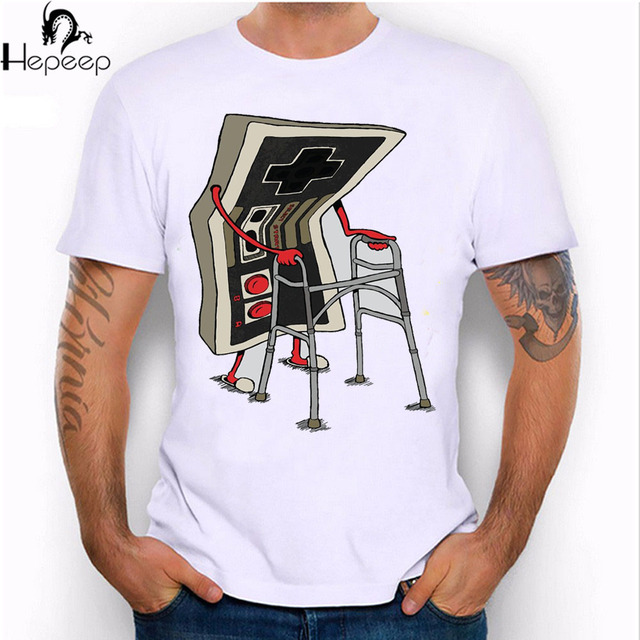 2017 New summer fashion old gamer design men's short sleeve cartoon T-shirt High Quality casual tops novelty tees
