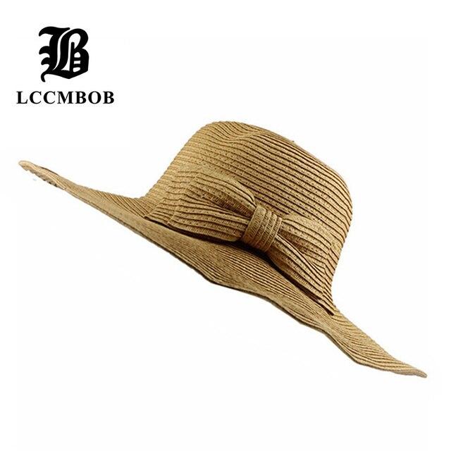 [FLB] 2015 Nuevas Mujeres de La Manera Grande Ancho Brim Floppy Summer Beach un sombrero para el sol Sombrero de Paja botón arco Casquillo del verano sombreros para las mujeres