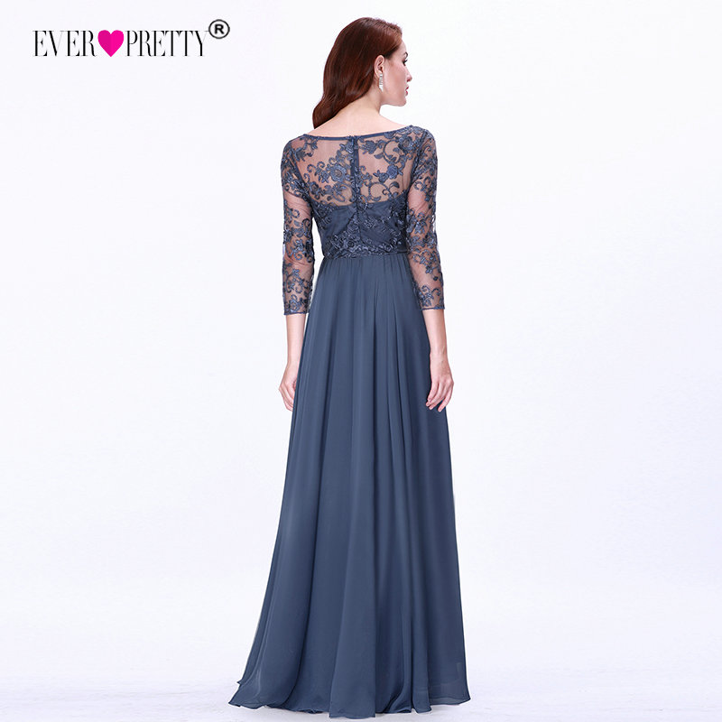 Ever Pretty Prom Dresses Long 2020 Lace Appliques A-line Chiffon Elegant Long Sleeve Winter Autumn Prom Gowns for Wedding Party