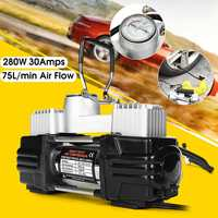 280W 150PSI 30AMP Double Cyclinder Car Tire Tyre Inflator Air Pump Compressor DC 12V Higher Effective 3 Minutes Alarm Work Light
