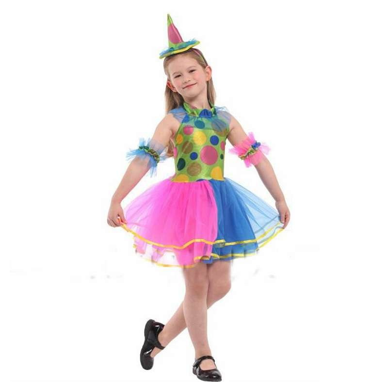 childrens costumes performance clothing beautiful rainbow skirt girls clown outfit cosplay halloween costumes - Girl Clown Halloween Costumes