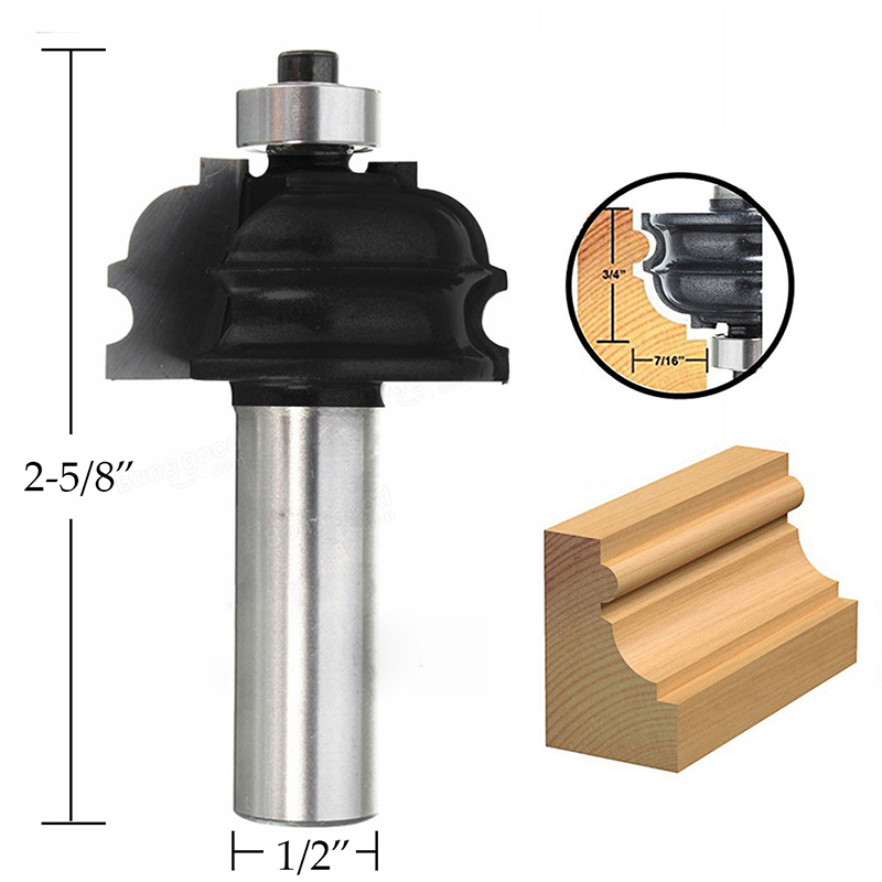 3/4 Router Bit 1/2'' Shank Cove Carpenter Chisel Cutter Tool For Woodworking high grade carbide alloy 1 2 shank 2 1 4 dia bottom cleaning router bit woodworking milling cutter for mdf wood 55mm mayitr