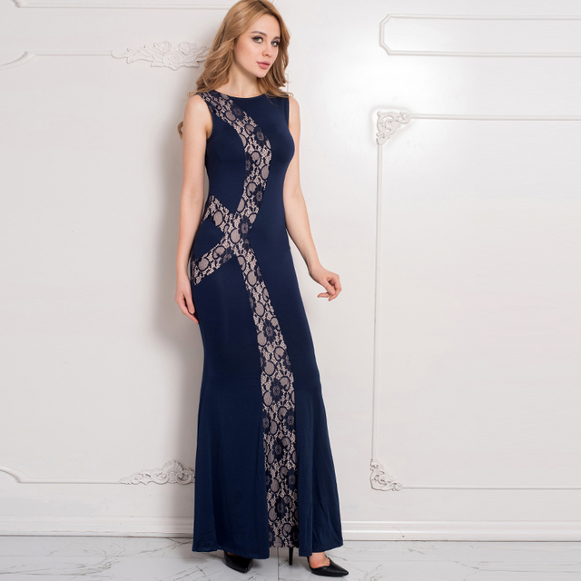 Rw80054 Hot Sale Women Plus Size Dress Blue Lace Panel Maxi Club