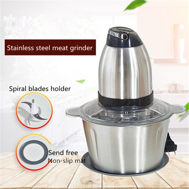 2L Electric Meat Grinder Power Grinder Stainless Steel Multi-function Household Food Processor Meat Kitchen Mixer Blender penghui multi function household manual food processor meat grinder white orange