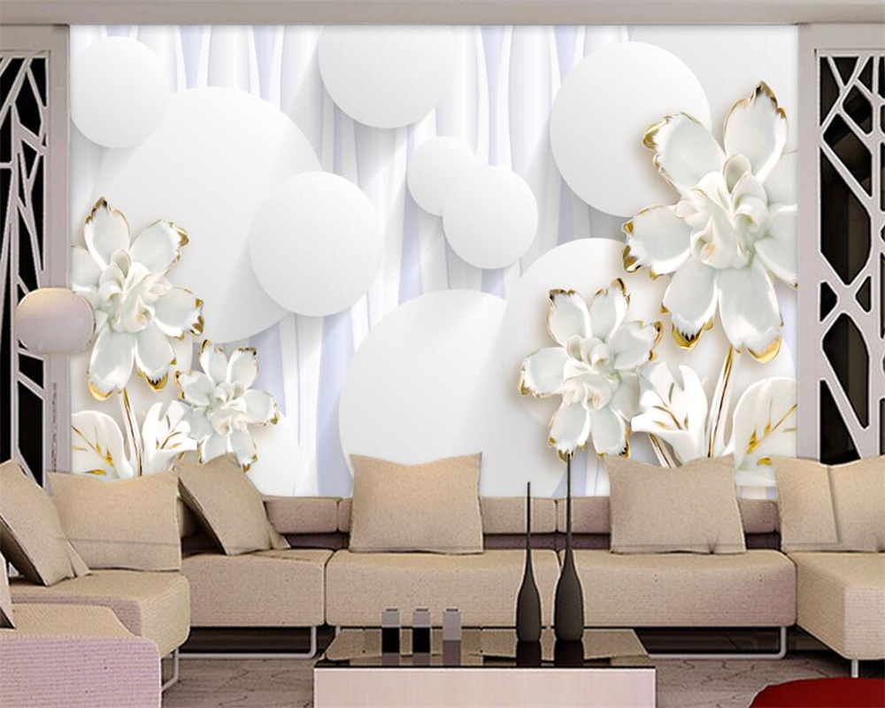 Beibehang Wallpaper Home Decorative Photo Wallpaper 3D Circle White ...