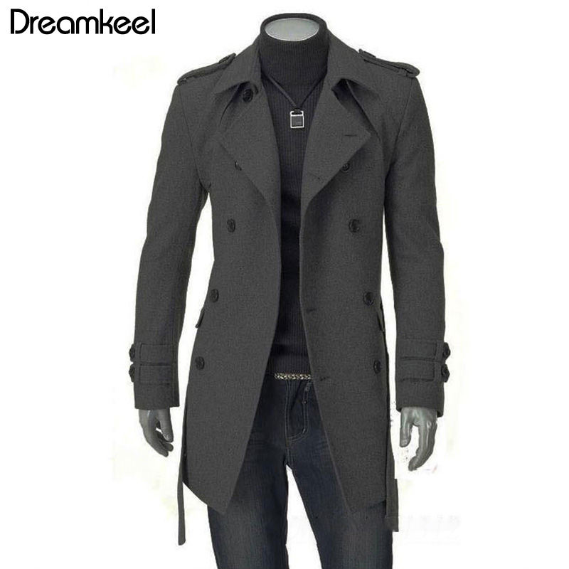 2019 Winter Fashion Men Long Overcoat Solid Double-breasted Outwear Coat Monclaire Jacket Mens Overcoats Double Breasted Men Y(China)
