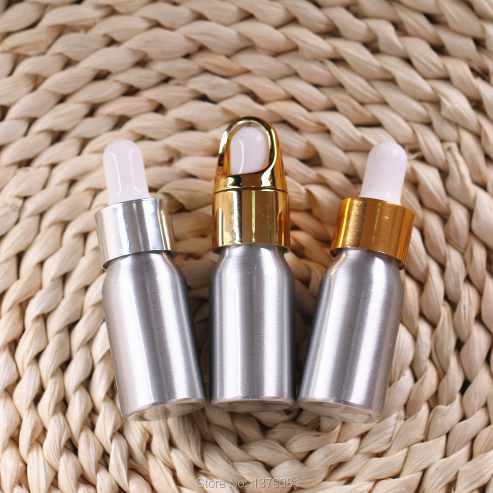 10/30pcs 10ml/30ml/50ml Aluminum Dropper Bottle,Perfume Cosmetic Container, Sample Essential Oil/Lotion Refillable Bottles