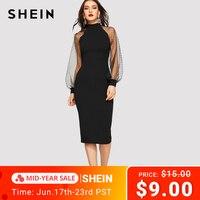 SHEIN Вечерние черные или синие облегающие платья-карандаш с жаккардовым контрастным Сетчатое платье-фонарь весенние женские однотонные пла...