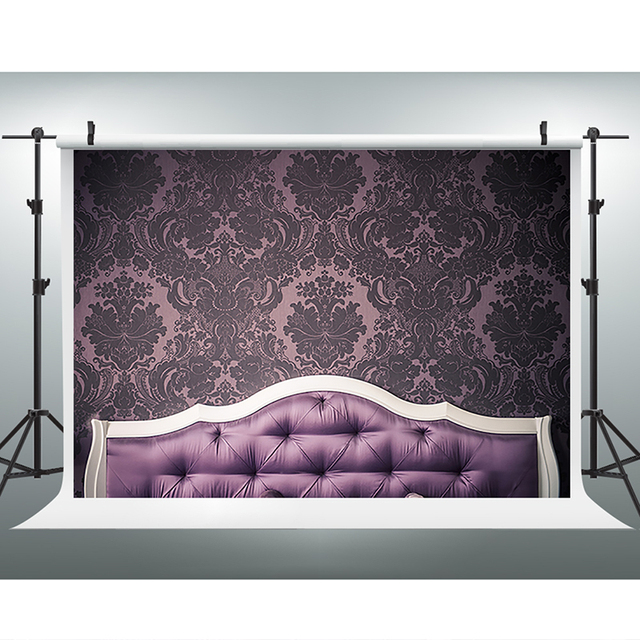 Children Photography Backdrops Purple Sofa Bed Head Birthday Photo Background Full Rest Baby Backgrounds For