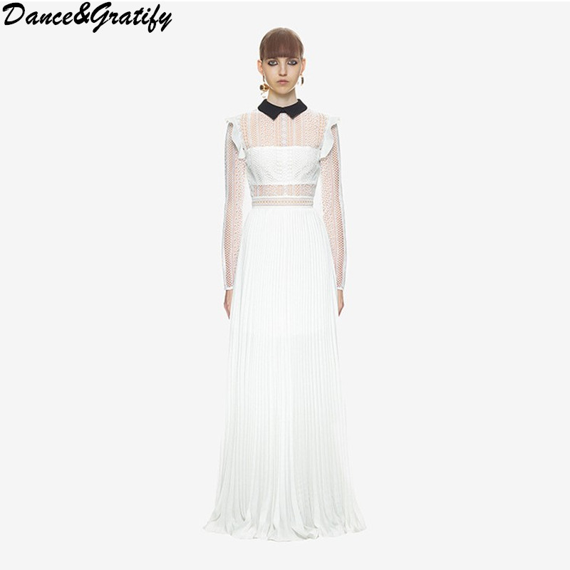 Us 3153 17 Offdancegratify New 2018 Self Portrait High End Custom Long Maxi Floor Length Dresses Women Embroidery Lace Chiffon Pleated Dress In