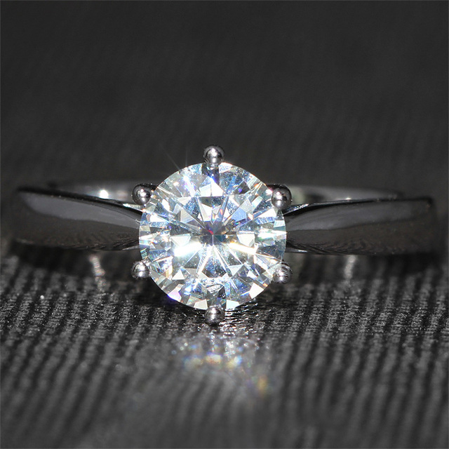 Queen Brilliance 3MM WIDE New Elegant F-G-H Solid 14K 585 White Gold 1 Carat ct Engagement Wedding Moissanite Diamond Ring