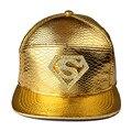 Высокое Качество Звезда Супермен Snapback ПУ Шляпы Золотой Красный Черный Caps Хип-Хоп Бейсболки Популярные Мужские Спортивные Регулируемые Шляпы