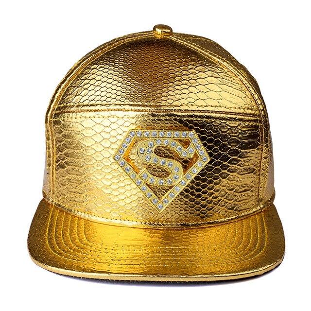 0beba1a8a8c9a4 High Quality Star Supermen Snapback PU Hats Golden Red Black Caps Hip Hop  Baseball Hats Popular