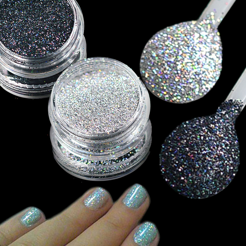 1g Holographic Nail Glitter Silver/Black Laser Shiny Glitter Powder Dust DIY Charming Manicure Nail Art Decorations TRL03/15