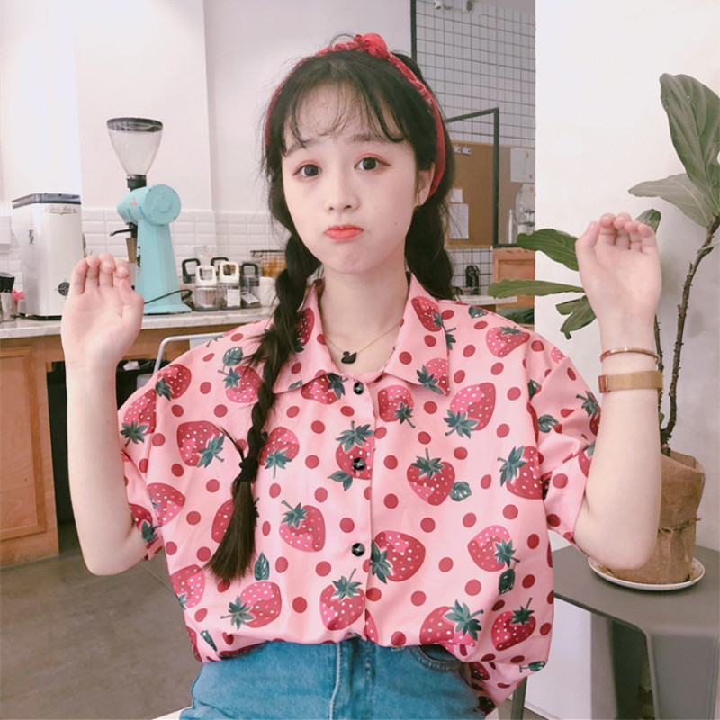 Women's Clothing Learned Summer Japanese Cute Strawberry Shirts Women Korean Preppy Kawaii Pink Tops Vintage Button Down Short Sleeve Female Blouse