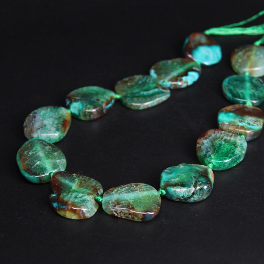 New!!! 11-13PCS/strand Green Irregular Slab Nuggets Crack Raw Agates Beads,Natural Onxy Stone Slice Pendants Craft Jewelry