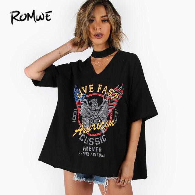 4cee94b2ff5d ROMWE Choker V-Neck Drop Shoulder Print Tee Fashion Black Rock Women Summer  Tops Half Sleeve Cut Out Casual T-shirt