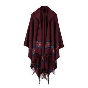 Image 3 - Thiết kế mới 100% ACRYLIC foulard Femme Mùa Thu/Mùa Đông Ấm Thời trang áo choàng poncho 130*150CM Màu Đen/Xám/rượu vang Đỏ/KAKI tippet khăn choàng