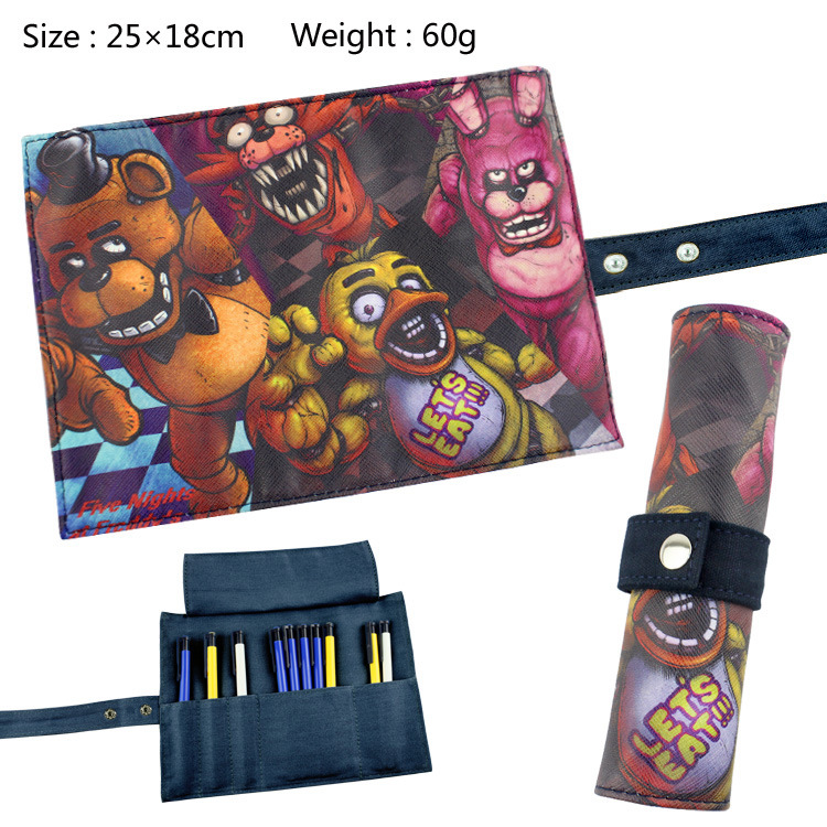 Five Nights At Freddy's Canvas Roll Up Pencil Bag Anime Pencil Case Kids Boy Gift Stationery School Supplies black bluter canvas roll up pencil bag anime pencil case kids boy gift stationery school supplies