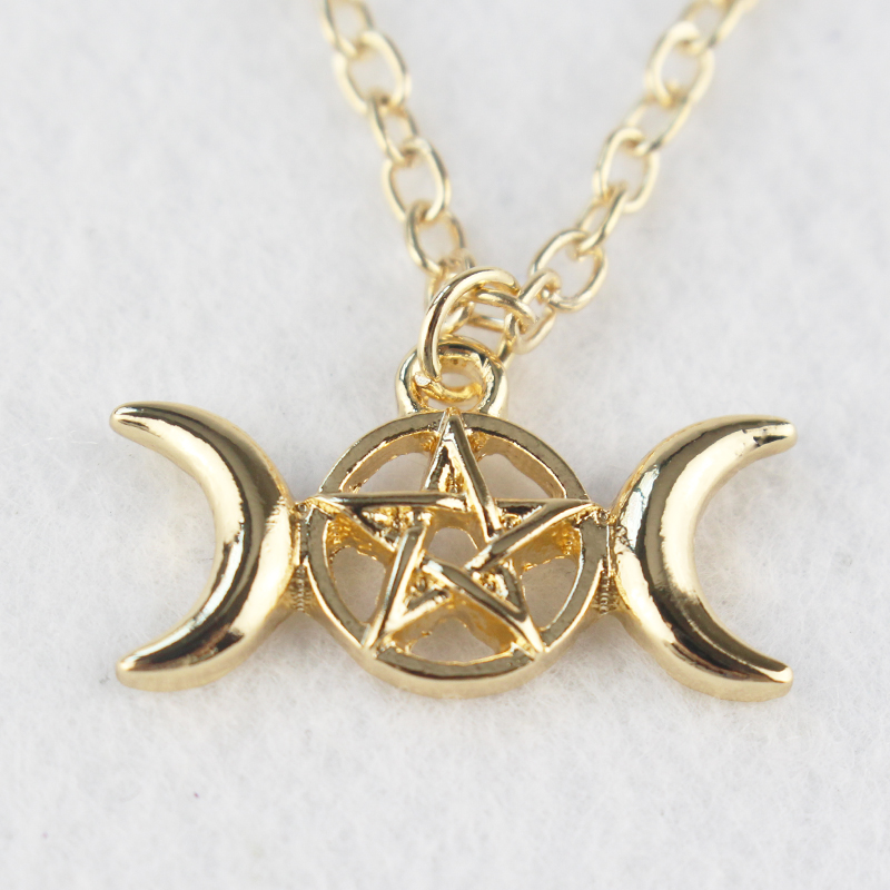 product moon pendant jewelry dome inc goddess mofotee glass products pentagram necklace wiccan image triple