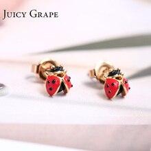 Nuevas llegadas insectos mariquita de siete estrellas oro cristal mujer pendiente 925 agujas de plata adornos de joyería